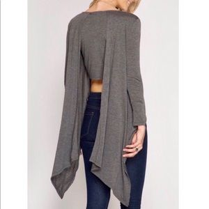 REDUCED! Long Sleeve Gray Asymmetrical Knit Top